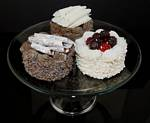 Fake Food set of 3 Small Gourmet Cakes On Glass Pedestal Tray