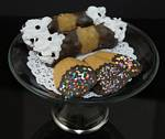 Fake Food Italian Pastries On Glass Pedestal Plate