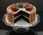 Fake Food Chocolate Strawberry Cake With Slice Out On Pedestal Tray