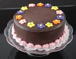 Fake Food Chocolate Flower Dollop Cake On Pedestal Tray