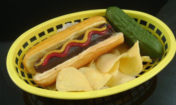 Fake Food Hot Dog On Basket