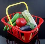 Fake Food Kiddy Vegetable Basket - 12 Pc