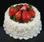 Fake Food Coconut Cake with Strawberries & Blueberries