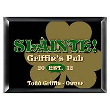 Personalized Gold Clover Pub Sign