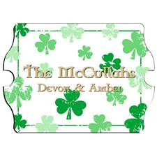 Vintage Personalized Raining Clovers Family Sign