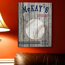 Personalized Baseball Man Cave Canvas Print