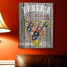 Personalized Billiards Man Cave Canvas Print