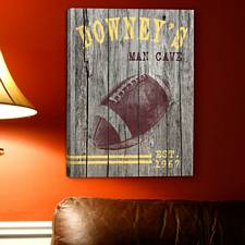 Personalized Football Man Cave Canvas Print