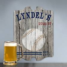 Personalized Baseball Man Cave Vintage Pub Sign