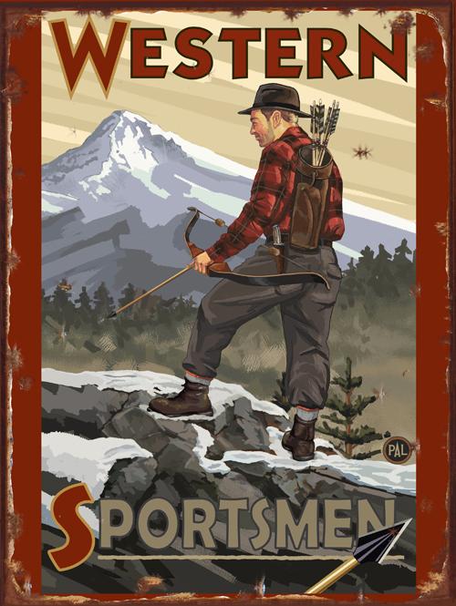 Western Sportsmen Bow Hunter Vintage Tin Sign
