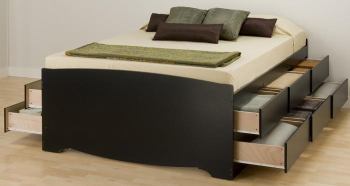 Tall Black Queen 12 Drawer Platform Storage Bed By Prepac
