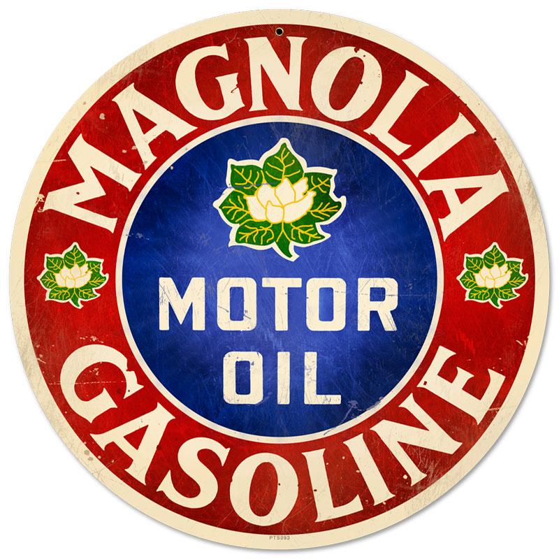 "12/"" DIAMETER MAGNOLIA PETROLEUM OIL ROUND DOME SHAPED METAL ADVERTISING SIGN"