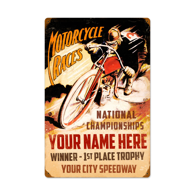 Tin Sign Vintage Motorcycle Races
