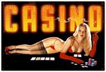 Red Light Casino Metal Sign