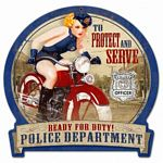 Police Bike Metal Sign