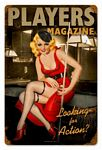 Player Pinup Vintage Metal Sign