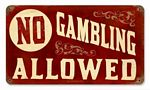 No Gambling Vintage Metal Sign
