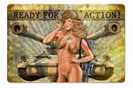 Ready for Action Vintage Metal Sign