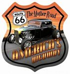 Route 66 Hotrod Metal Sign