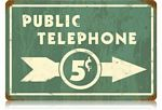 Public Telephone Vintage Metal Sign