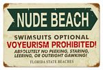 Nude Beach Vintage Metal Sign