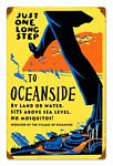 One Step to Oceanside Vintage Metal Sign