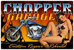Chopper Garage Metal Sign