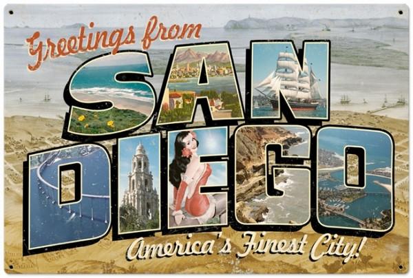 San Diego Postcard Metal Sign