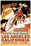 LA Motorcycle Race Metal Sign