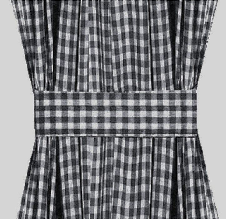 Navy Blue Gingham Check French Door Curtains
