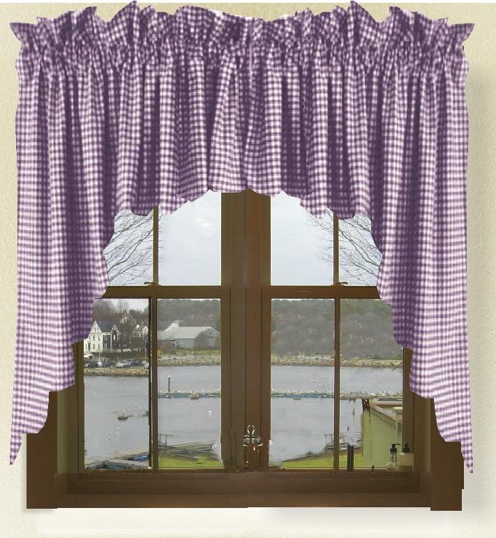 Dark Purple Gingham Check Scalloped Window Swag Valance Set