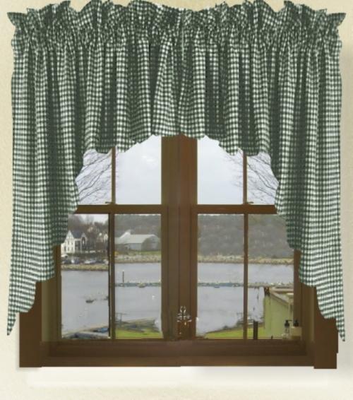 Hunter Green Gingham Check Scalloped Window Swag Valance Set