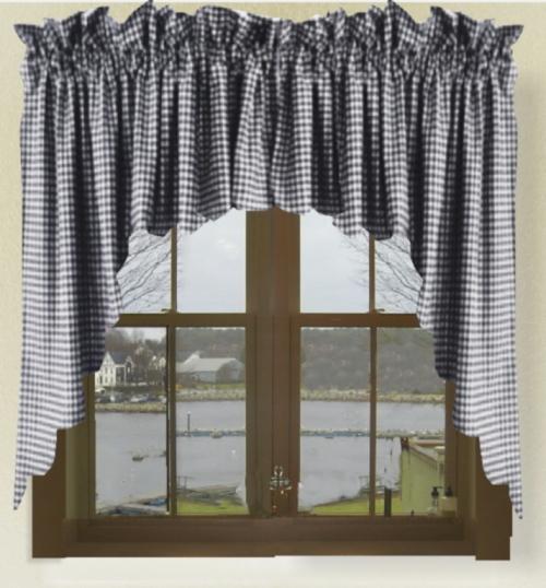 Navy Blue Gingham Check Scalloped Window Swag Valance Set