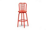 Aluminum Cafe Swivel Bar Stool with Red Finish Restaurant Furniture