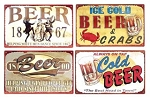 Cold Beer Signs set of four