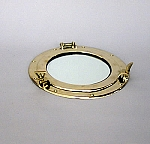 Nautical Decor, Brass Porthole Cover With Mirror, 8 In. Tall