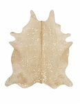 Specialty Beige and Gold Cowhide Rug