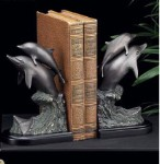 Bronzed Brass Dolphin Bookends - Set of Two