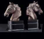 Bronzed Brass Horse Bookends - Set of Two