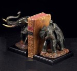 Bronzed Brass Elephant Bookends - Set of Two
