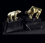 Solid Brass Bull and Bear Bookends - Set of Two
