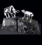 Solid Brass Chrome Plated Bull and Bear Bookends - Set of Two