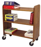 Library Book Truck Walnut Stain Birch with Flat Shelves