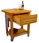 Baby Grand Butcher Block Kitchen Island Cart with Drop Leaf