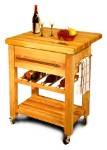 Baby Grand Butcher Block Kitchen Island Cart with Drop Leaf and Wine Rack