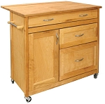 Mid-Sized Drawer Butcher Block Kitchen Island Cart