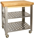 Stainless Steel Butcher Block Kitchen Island Cart