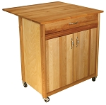Cuisine Butcher Block Kitchen Island Cart with Drop Leaf