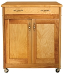 Designer Butcher Block Kitchen Island with Flat Panel Doors
