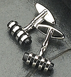Rodium Plated Cufflinks with Black Cat's Eye T.P.